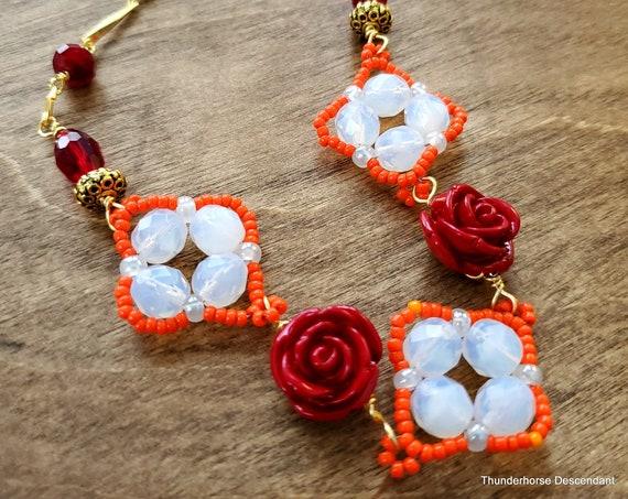 Desert Rose Necklace in Orange and White