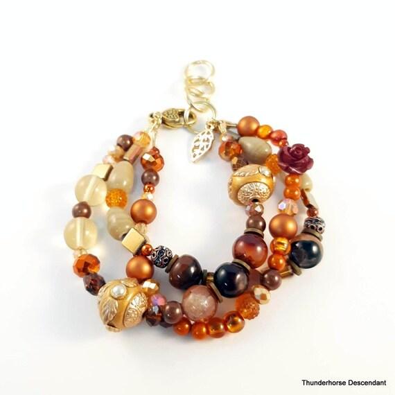 Adjustable Multi strand Boho Bracelet with Rose Beads