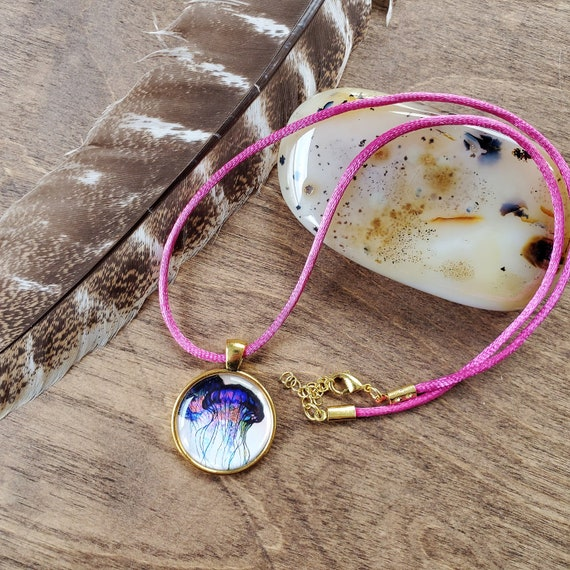 Resin Dome Necklace - Jellyfish Necklace - Handmade Jellyfish Pendant - Resin Pendant - Silk Cord Necklace