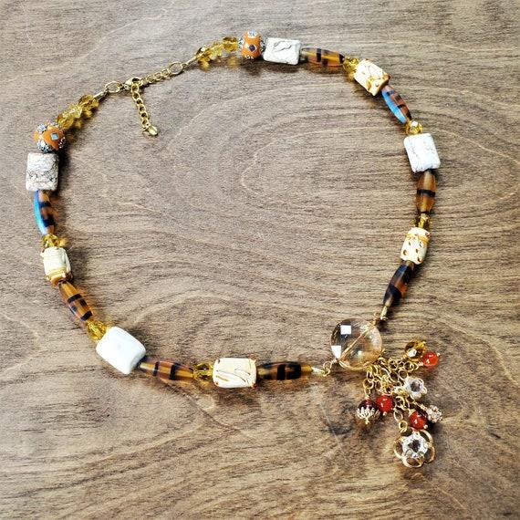 Tortoise Shell Czech Glass Necklace