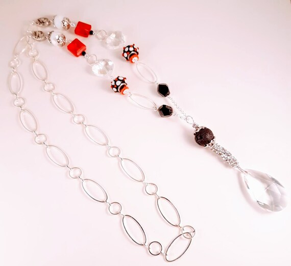 Black, Red, and Crystal Long Pullover Romantic Diffuser Necklace