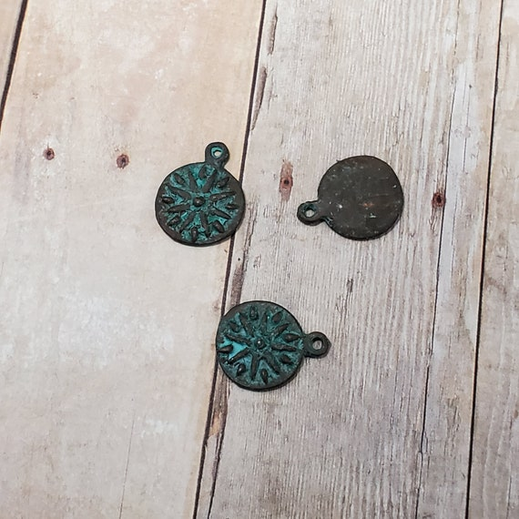 Patina Greek Copper Flower Charms