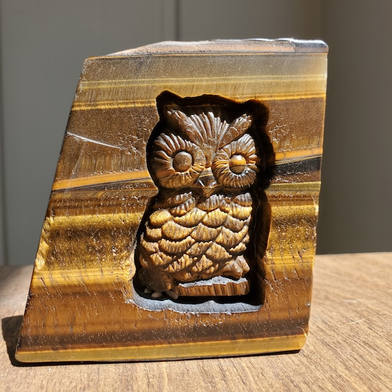 Genuine Tiger Eye with Carved Owl