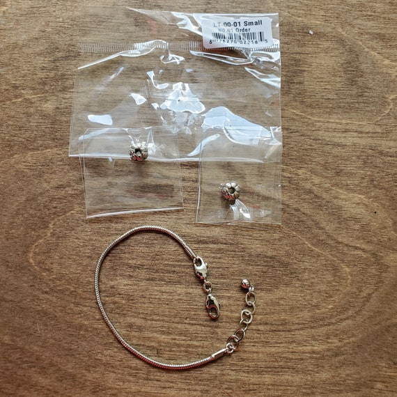 Small Rhodium Bracelet with Extender - For Interchangeable Large Hole Beads and European Bracelets