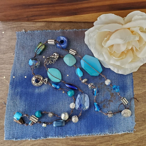 Shades of Blue Button Closure Necklace