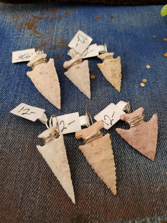 Hand Carved Arrowheads in .925 Wire wrap - Random Selection