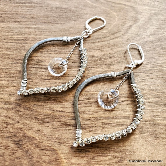 Brushed Silver Rhinestone Wrapped Earrings