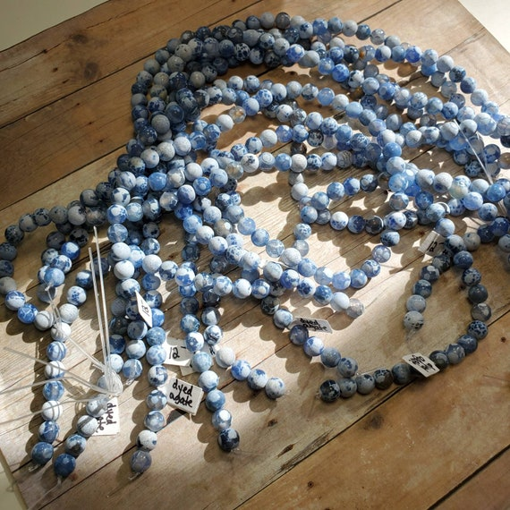 8mm Dyed Blue Agate Beads from Taylors Falls Bead Store