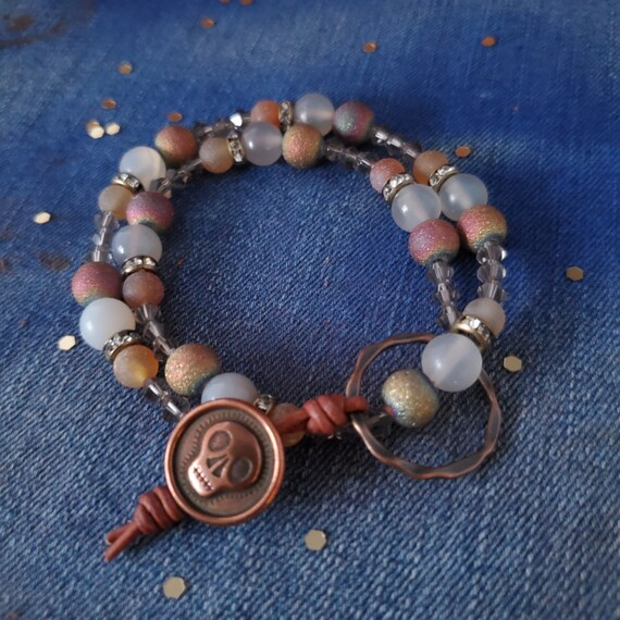 Double Wrap Skull Button Bracelet. Double Wrap with Druzy and Agate Stone