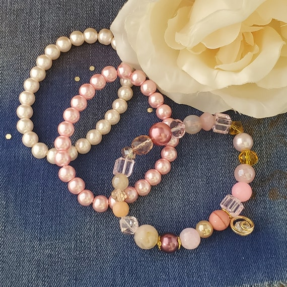 Pink and White Pearl Stretch Bracelet Set of 3