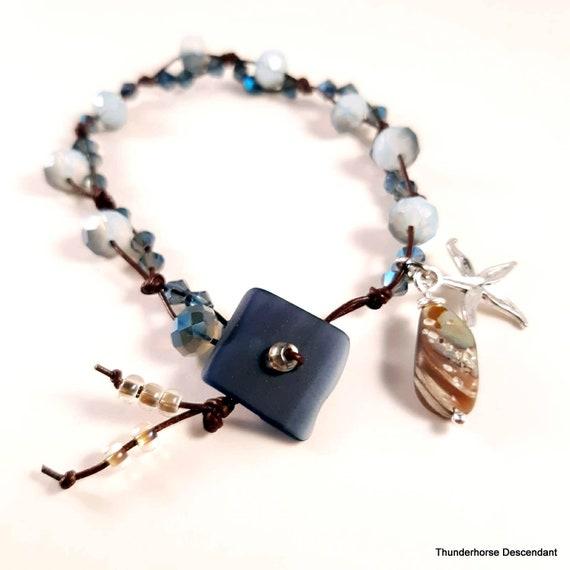 Ocean Side Sea Glass Button Bracelet