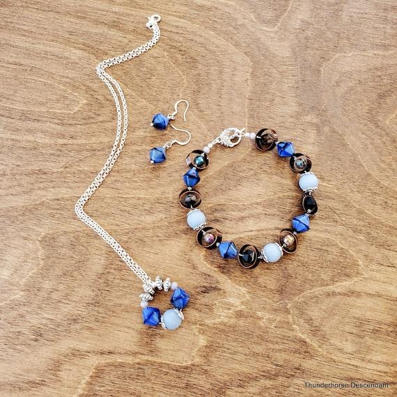 Blue Czech Glass Set of 3 Made Live on Jesse James Beads