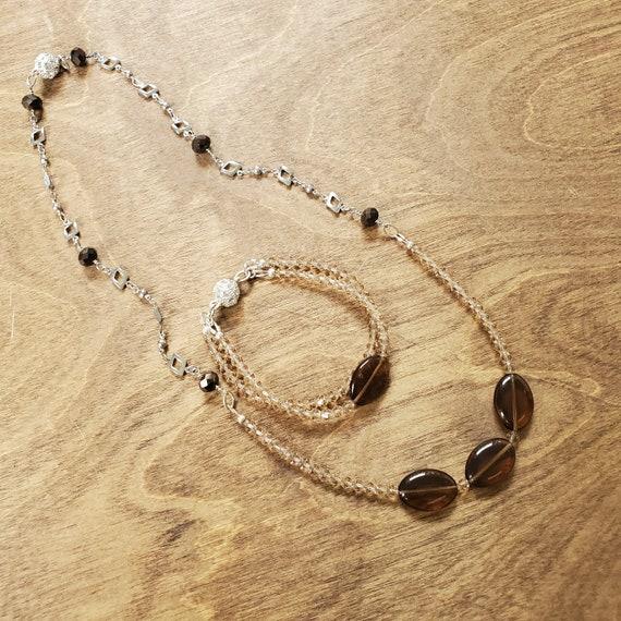 Magnetic Clasp Czech Glass Necklace and Bracelet Set