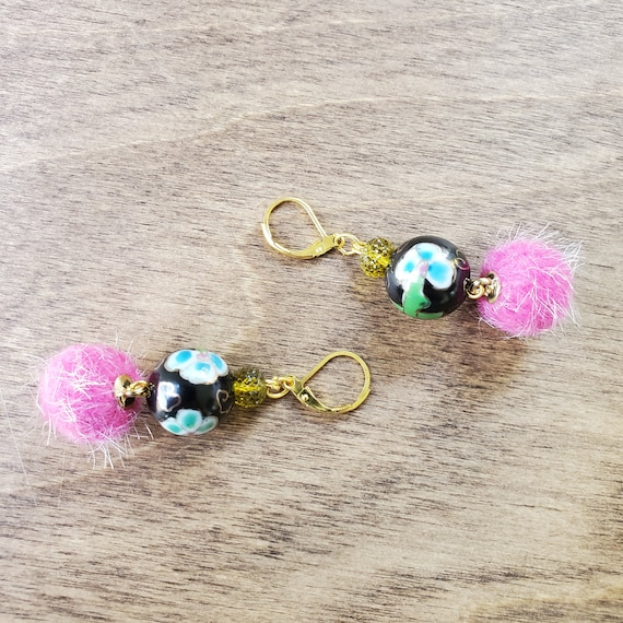 Puff Ball Floral Earrings