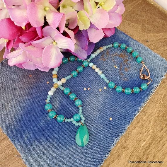 Aqua Quartz Spring Rain Crackle Agate Necklace