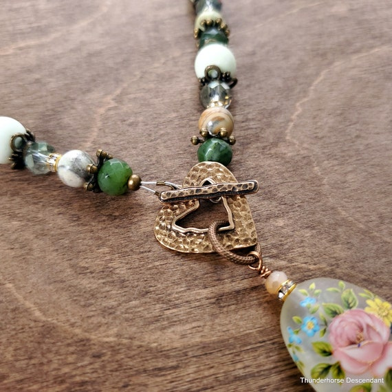 Front Toggle Pendant with Floral Tensha Bead