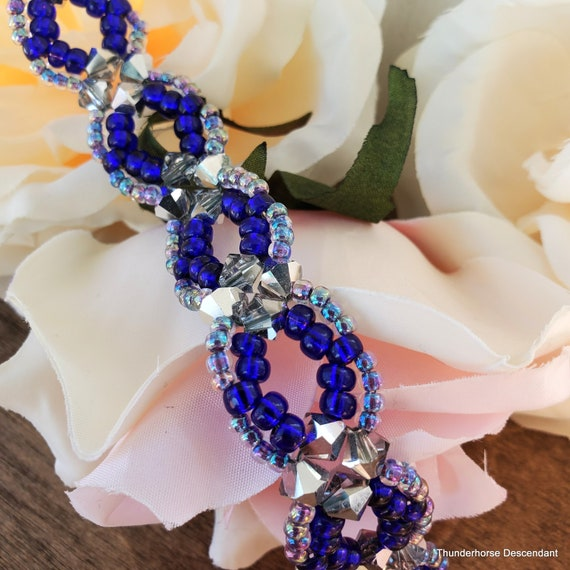 Adjustable Blue Bell Beaded Bracelet