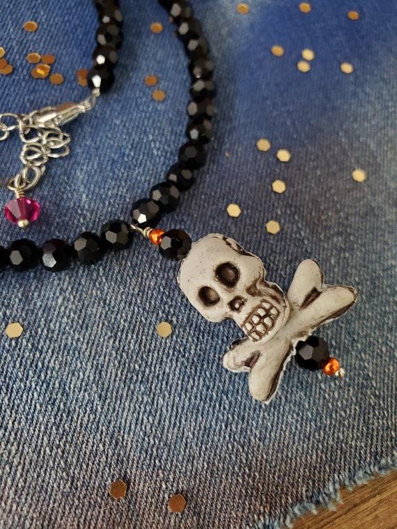 Happy Halloween Skull and Cross Bone Necklace