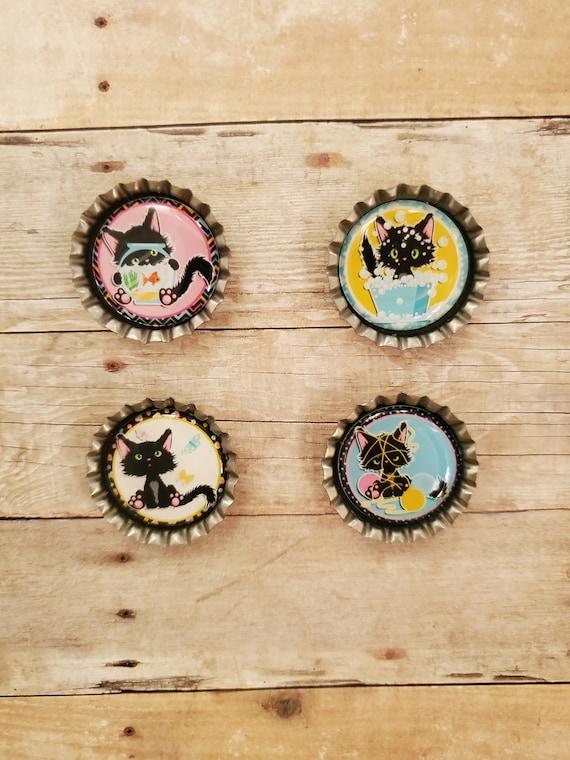 Black Cat Super Magnets Set of 4