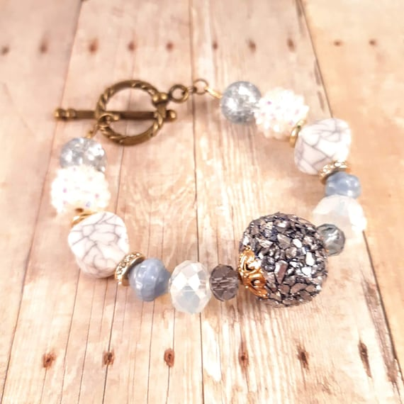 6 1/2 Inch Blue Crushed Mother of Pearl Toggle Bracelet