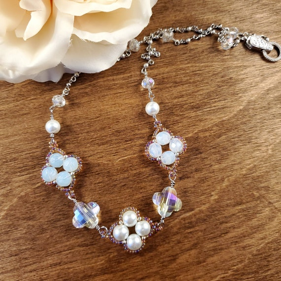 Desert Rose Necklace in White and Pink