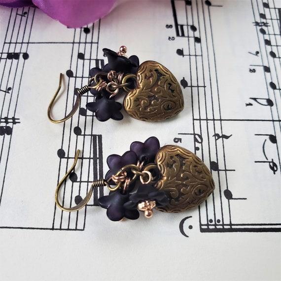 Vintage Inspired Heart and Flower Earrings