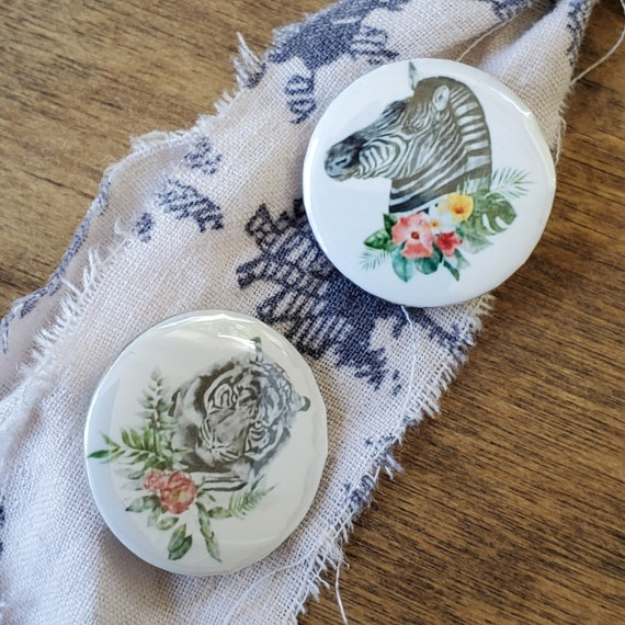 Flower Power Tiger and Zebra 1 inch x 1inch Button Pins set of 2
