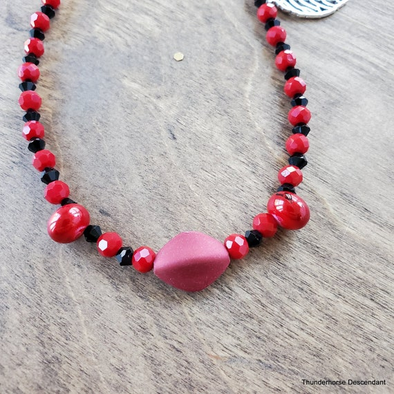 Red and Black Leaf Necklace and Earring Set