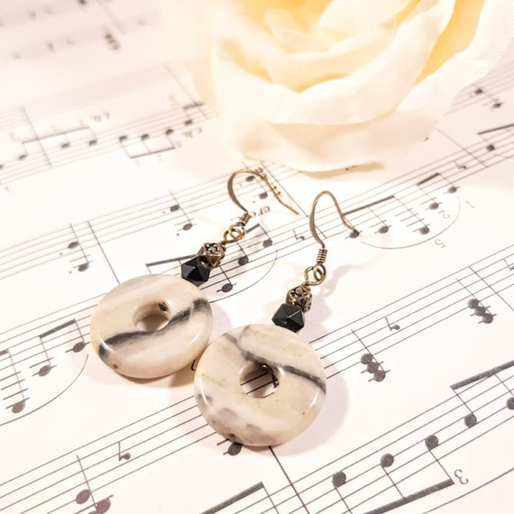 Gray Marble and Obsidian Earrings