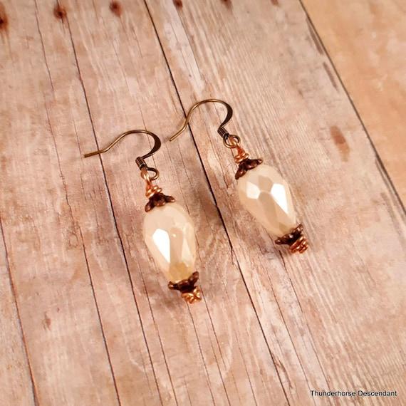 Romantic White Czech Glass Drop Earrings