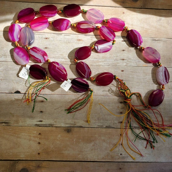 Dyed Pink Agate Stone Beads from Taylors Falls Bead Store
