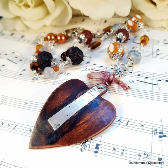 Joy and Compassion Wooden Heart Necklace