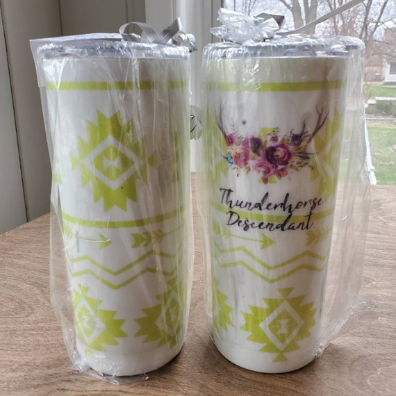 Handmade Thunderhorse Descendant Coffee Travel Tumbler 20 oz lime green