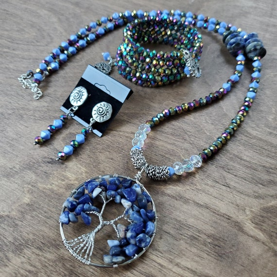 Tree of Life Necklace, Small Memory Wire Bracelet, and Earring Set