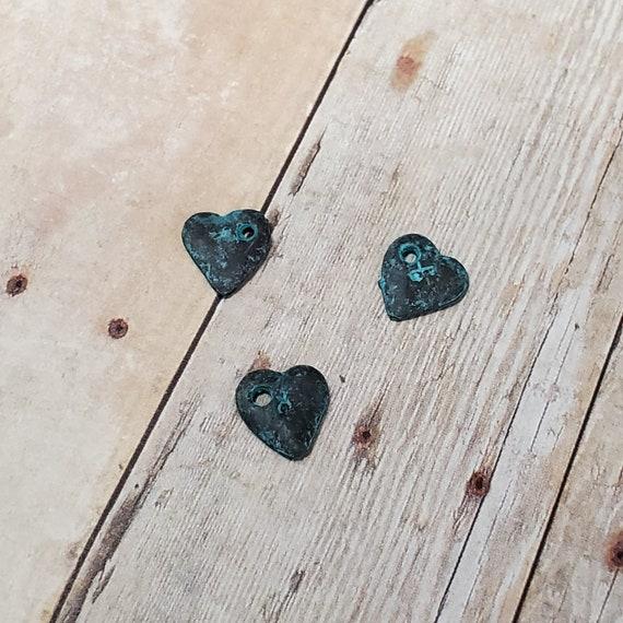 Patina Greek Copper Double Side Heart Charm