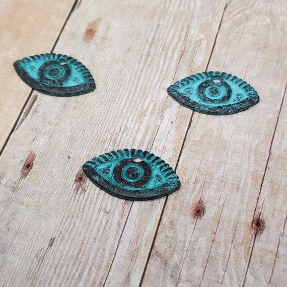 Patina Greek Copper Evil Eye Charm or Pendant