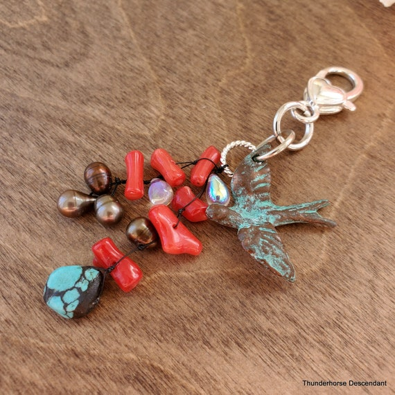 Southwestern Protection Turquoise, Pearl, and Coral Pendant for Pendant Ready Strand