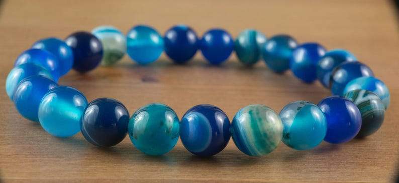New Lovely Blue Striped Agate 8mm Round Bead Stretch Bracelet Handmade Natural Healing Stone