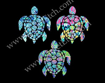 Sea Turtle Decal-Yeti Decal-Lilly Inspired-Laptop Decal-Window Decal-Tumbler Decal-Cup Decal