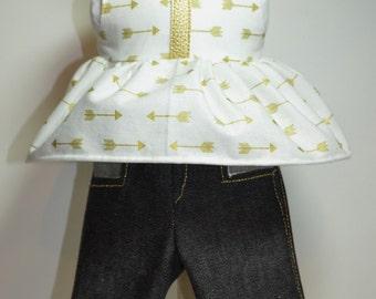 """Golden Arrow Capri Outfit 18"""" Doll Clothe Denim Cotton Faux Leather Trim"""