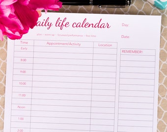 Daily Calendar/Scheduler - hour by hour - 2018 Printable