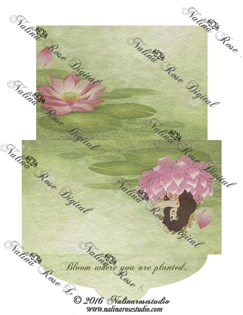 Stationery Set~ Inspirational Lotus~ 6x4 Envelope with 8x10 Stationary Page~ DIGITAL DOWNLOAD PRINTABLE