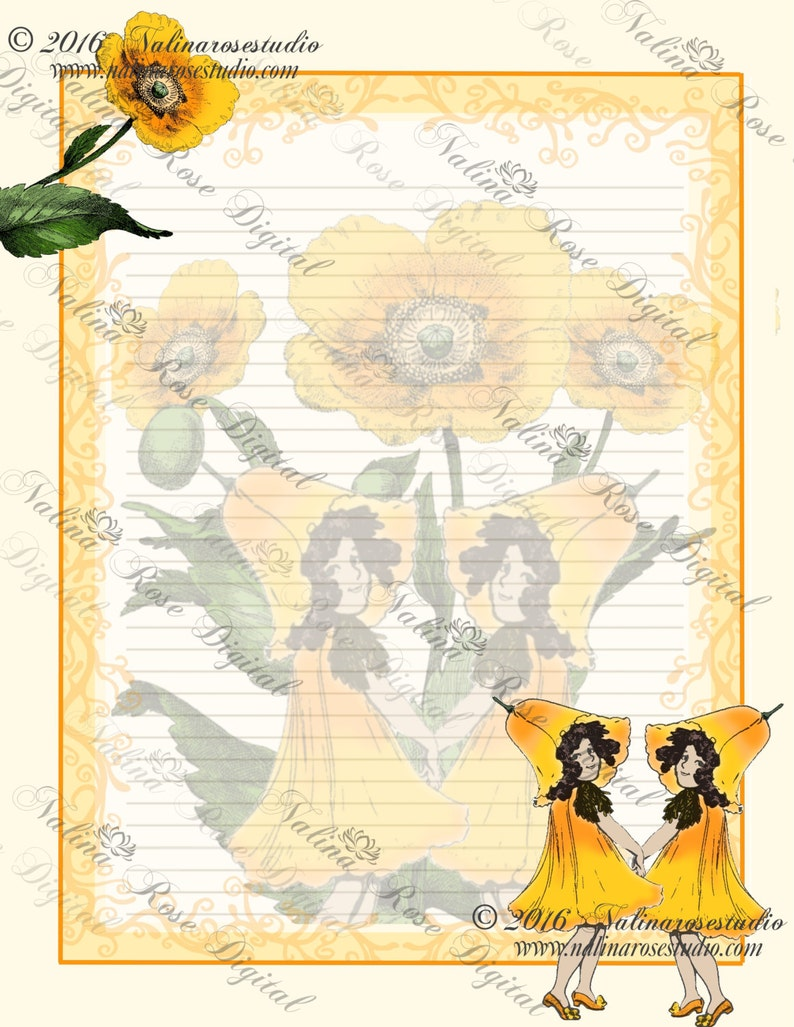 Printable Journal Pages~ Playful Poppies~  Letter Size Journal Pages including 3 variations of the design~ DIGITAL DOWNLOAD PRINTABLE