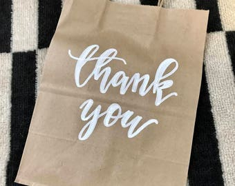 Hand Lettered Thank You Gift Bag