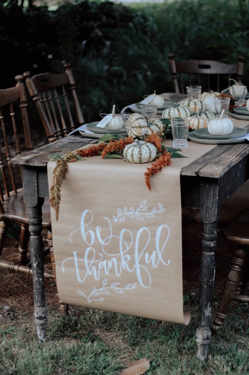Thanksgiving Table Runner   Calligraphy Table Runner   Holiday Table Runner    Kraft Table Runner