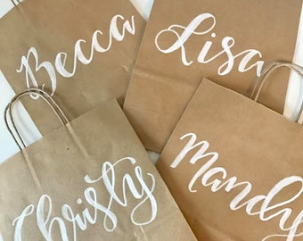 Hand Lettered Kraft Gift Bags, Custom Gift Bags, Bridesmaid Bags, Welcome Bags