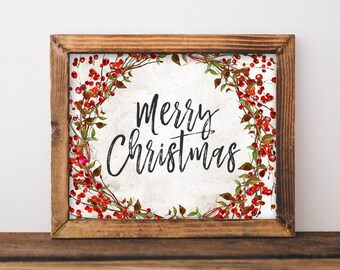 Christmas Printable Art Merry Print Watercolor Home Decor Wall Noel Santa
