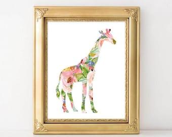 Nursery Printable Art, Giraffe printable art, Baby Girl Nursery decor, Nursery art Baby Girl Giraffe Nursery Print Gracie Lou safari nursery