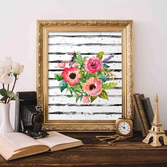 Floral Printable Art Floral Bouquet Wall Art Nursery Decor Etsy