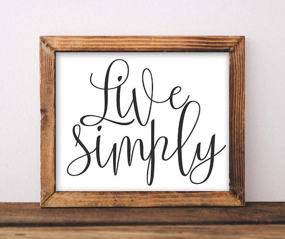 Printable Wall Art Live Simply home decor printable quote   Etsy